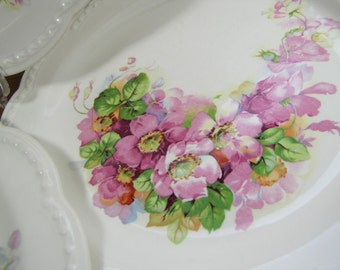 Set of Three (3) Vintage Floral Dinner Plates