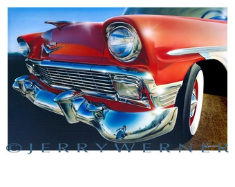 56 Chevy  car painting, oil painting, mixed medium, acrylic painting, giclee, art print, poster art, realism art, photo realism Jerry Werner