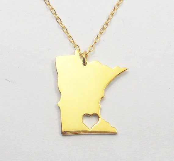 minnesota state necklace mn state charm necklace state