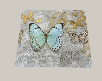 Butterfly vintage style shabby chic blue gold vintage look mouse pad mousepad mouse mat rectangle Paris