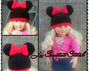 Minnie Mouse Ear hat for American Girl doll