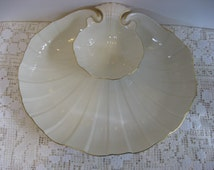 Lenox Shell Chip and Dip Serving Bowl, Shrimp Server, Lenox China, USA, Two Tier Server, Vintage Wedding Gift,Shell Dish