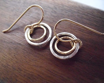 Tiny 14Kt gold filled and sterling silver circle earrings; small hammered gold and silver earrings; tiny hammered circles earrings