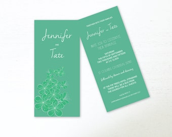 SAMPLE Wedding Invitations Printed Wedding Invite DL Wedding Stationary Bespoke Wedding Invitation Green Flowers Wedding Invitations