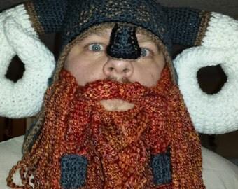 Crochet Viking hat with optional beard