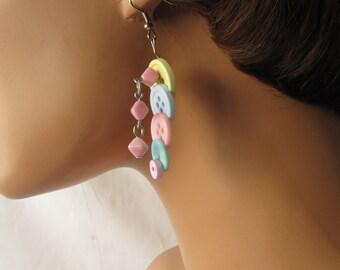 Orginal Pastel Button Dangle Earrings