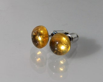 4, 6 or 8mm Citrine Gemstone Post Earrings with Sterling Silver