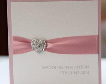 Romantic Dusky Pink Crystal Heart Invitation with ribbon