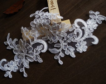 white lace applique, bridal applique, ivory lace headpiece, bridal headpiece