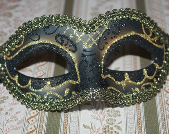 Black and Gold Masquerade Mask for Ladies