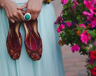 Sale Ballet Flats Leather Khussas Antique Ballet Style Flats - FREE SHIPPING