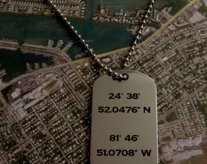 Latitude Longitude Stainless Steel Dog Tag Christmas Gift Boyfriend Girlfriend Husband GPS Coordinates Key Chain