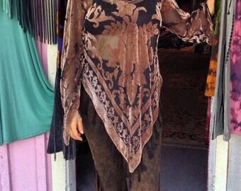 Floral Brown Sheer Velvet Pullover Kimono