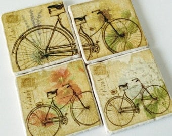 Bicycle Coasters - Vintage Bicycles - Paris Bicycles - Postcard Background - Natural Stone - Perfect for Bicycle Enthusiast - Set of 4