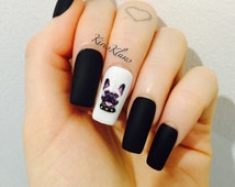 x Matte Black Frenchie x matte black nails with french bulldog design 3d coular false nails