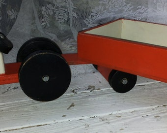 Wooden Toy Tractor with detachable trailer/trailer/total length 52 cm/men