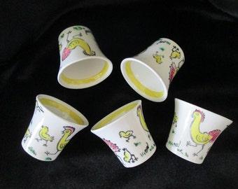 Vintage Swedish Egg Cups Upsala Ekeby Gelfe 2631 Pottery Porcelain