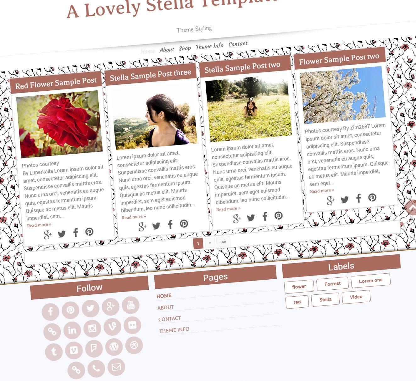 Premade Blogger Template Stella Template Blogger