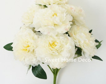 JennysFlowerShop 17'' Blooming Silk Peony Bush 9 Flower Heads Ribbon Feeling Super Soft White