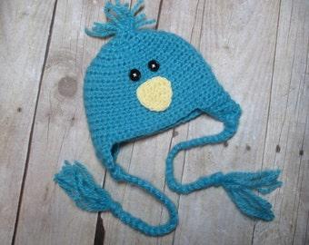 Baby Bird Hat, Newborn Bird Hat, Birdie Hat, Blue Bird Hat, Newborn Blue Bird Hat, Newborn Photo prop, Bird Hat, Newborn Birdie Hat