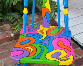 Pink Okra Handpainted OOAK Chair { Custom Colorful Painted Chair}