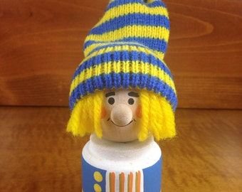 Swedish Wooden Elf with Stocking Cap ~ Scandinavian Wood Carved Toy ~ Made in Sweden ~ Swedish Yellow and Blue Painted Wooden Figurine