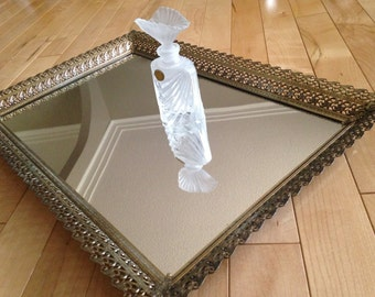 Vanity Mirror Tray   Gold Tone Filigree Square Dresser Mirror   Perfume Glass Mirror Tray   Vintage Dresser Tray   Mirrored Vanity Tray