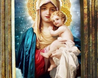 Virgin Mary, Blessed Mother with Jesus Catholic art, Religious Art, 8.5x11  Print