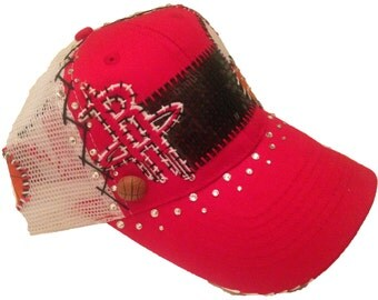 Hand-Stitched HOUSTON ROCKETS basketball red & white hat with Swarovski crystals