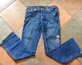 Vintage 80's patterned boho bootcut jeans