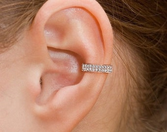 Sterling Silver Ear Cuff CZ Pave With 18K Gold Vermeil, Non Pierced Ear Cuff, Ear Wrap