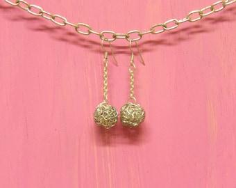 Silver wire bead & chain dangle earrings