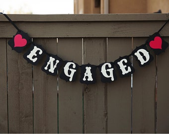 "Engagement Party ""Engaged"" Bunting Banner Sign"