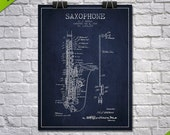 1928 Saxophone Patent Wall Art Poster, Home Decor, Gift Idea
