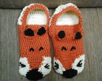 Fox Slippers-Crochet Fox Shoes-Woman and Men Shoes-Custom Crochet Fox Shoes-Socks and Hosiery-Fun Slippers for All-Christmas Family Ideas