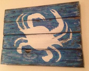 Crab art on wood Wall Decor rustic