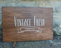 Hand Painted Business/Vendor Logo Sign | 24x36 | Dark Walnut Stained Wood