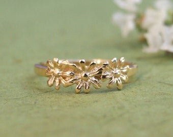 Three Flowers Ring, 14K Yellow Gold Plated Ring