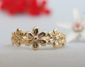 Gold Flower Ring, Gold Ring, Gold Floral Ring, Flower Ring