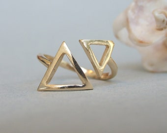 Two Medium Triangles Ring, 14K Gold Plated Ring, Adjustable Ring