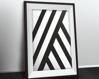 Modern printable wall art, black and white design poster, modern art instant download print, minimalistic art print modern poster geometric