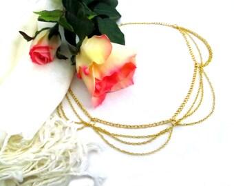 Gold Head Chain/ Head Piece/ Hair Piece / Cleopatra Head Chain / Hijab Chain / Hijab Accessories / Gold Head Piece