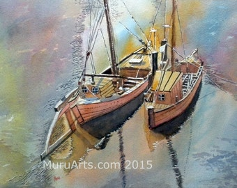 Boats of Luneberg, Germany, Watercolor Painting 30 cm x 44 cm