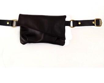 Black Leather Hipbag Fanny Pack