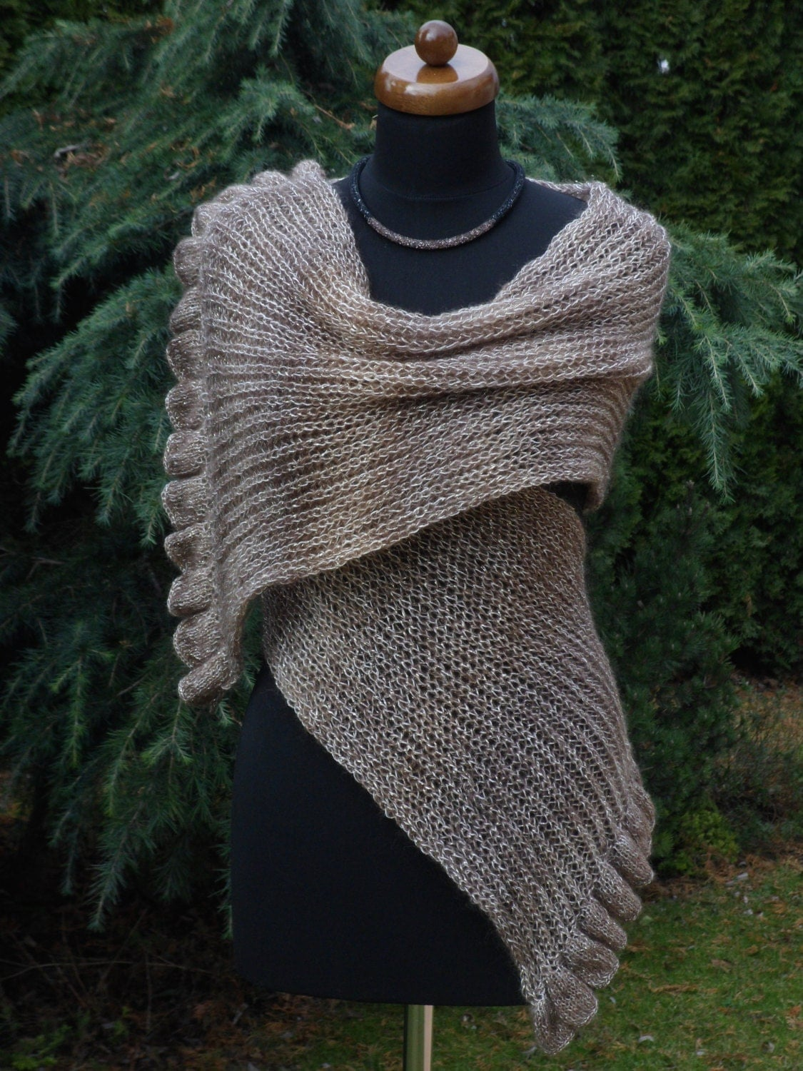 Knit Womens Scarf with ruffled edge Handmade scarf Knit