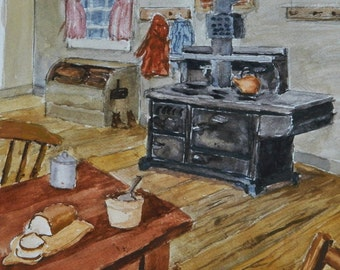 COUNTRY KITCHEN  Cook Stove , Americana, Maine Art, Original Watercolor Painting