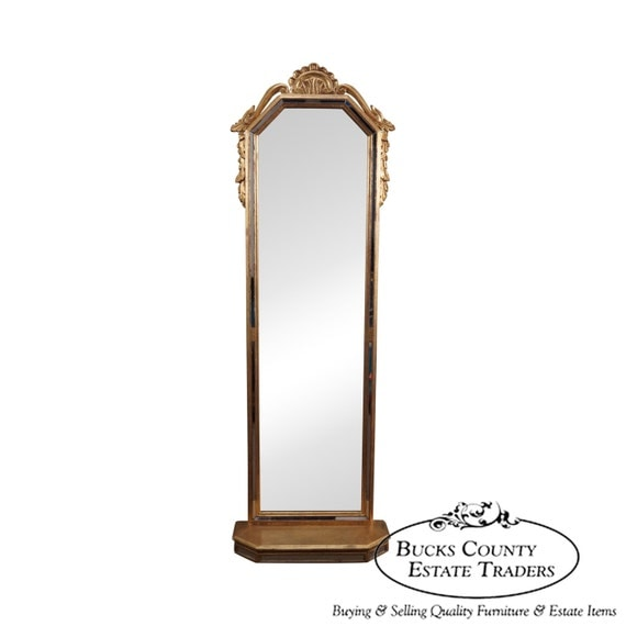 Italian gilt long narrow hanging wall mirror for Long wall hanging mirrors