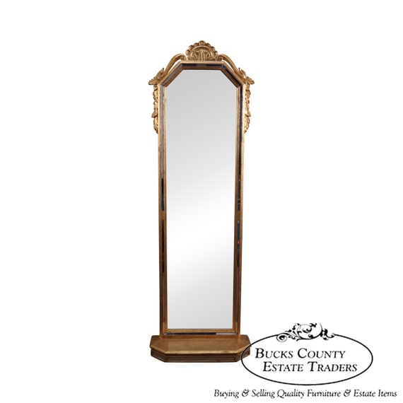 italian gilt long narrow hanging wall mirror