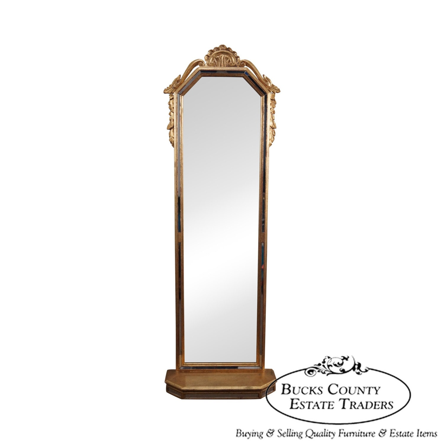 Italian gilt long narrow hanging wall mirror for Narrow mirror