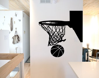 Basketball Hoop Wall Decal - basketball wall decor, basketball vinyl, basketball sports decal, basketball hoop, sports wall decal